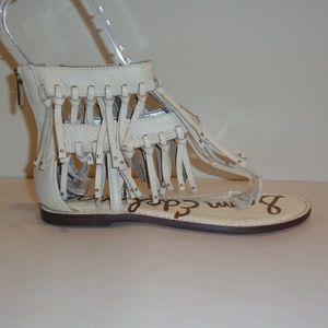 605a51f5d39aef Sam Edelman Size 7.5 GRIFFEN White Fringe Sandals